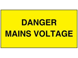 Danger mains voltage electrical warning label