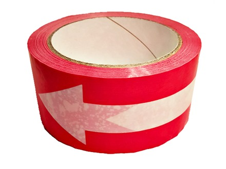 Safety and floor direction tapes, white arrow on red.