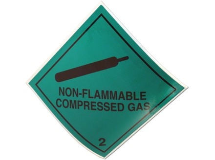 Non flammable compressed gas 2 hazard warning diamond sign