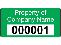 Assetmark+ serial number label (text on colour), 19mm x 38mm