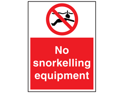 No snorkelling equipment sign.