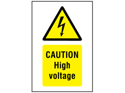 Caution High voltage symbol and text safety sign.
