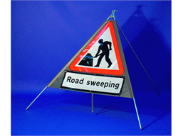 Men at work, road sweeping roll up road sign