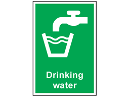 Drinking water symbol and text safety sign.