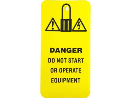 Danger, do not start or operate equipment.