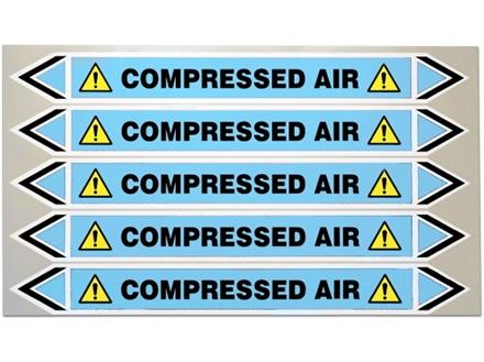 Compressed air flow marker label.