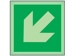 Diagonal arrow left facing down symbol photoluminescent safety sign