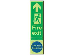 Fire exit, running man right, fire door keep shut fingerplate photoluminescent sign.