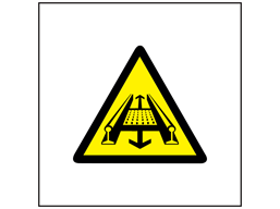 Moving parts on conveyor symbol safety sign.