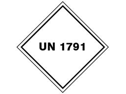 UN 1791 (Sodium hypochlorite, bleach, chlorine) label.
