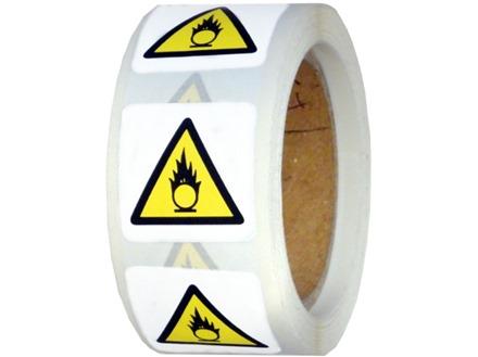 Caution risk of oxidising symbol label.