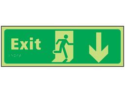 Exit arrow down photoluminescent sign.