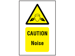 Caution noise symbol and text safety sign.