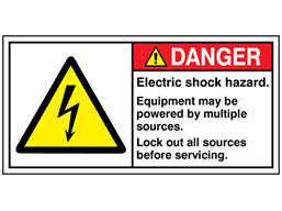 Electric shock hazard label
