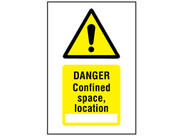Danger confined space, location symbol and text safety sign.
