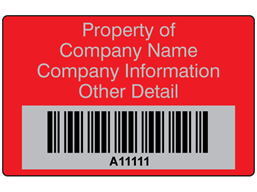 Scanmark foil barcode label (text on colour), 32mm x 50mm