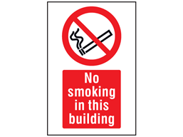 No smoking in this building symbol and text safety sign.