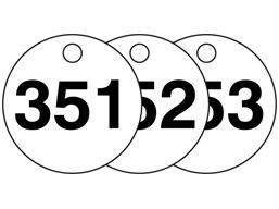 Plastic valve tags, numbered 351-375