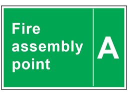 Fire assembly point text safety sign with identifier.