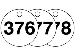 Plastic valve tags, numbered 376-400