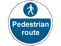 Pedestrian route symbol and text floor graphic marker.