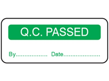 Q.C. Passed label.