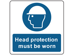 Head protection symbol and text safety label.