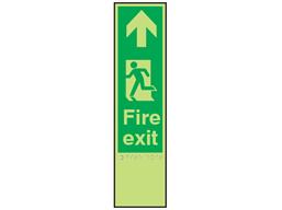 Fire exit, running man left fingerplate photoluminescent sign.