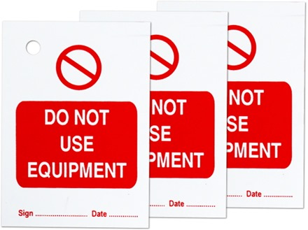 Do not use equipment tag.