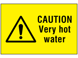 Caution very hot water symbol and text safety sign.