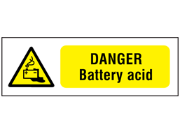 Danger battery acid safety sign.