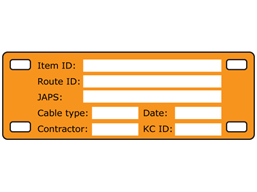 Cable tag, 35mm x 100mm, two colour print
