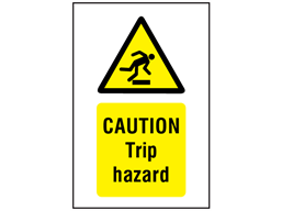Caution Trip hazard symbol and text safety sign.