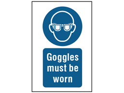 Goggles must be worn symbol and text safety sign.