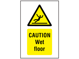 Caution, Wet floor symbol and text safety sign.