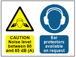 Caution noise level between 80 and 85dB (A), ear protection available on request sign.