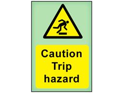 Caution Trip hazard photoluminescent safety sign