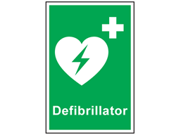 Defibrillator symbol and text safety sign.