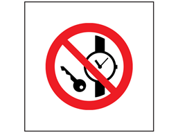 No metal parts or watches symbol safety sign.