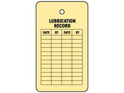 Lubrication record tag.