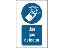Use gas detector symbol and text safety sign.