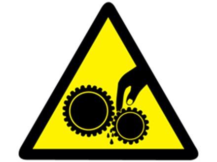 Pinch point hazard warning symbol label.