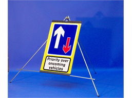 Priority over oncoming vehicles roll up road sign
