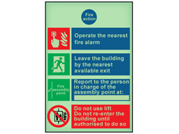 Fire action notice with symbols and text photoluminescent safety sign