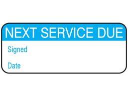 Next service due maintenance label.