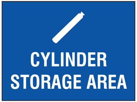 Cylinder storage area symbol and text sign.