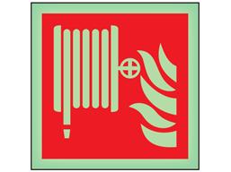 Fire hose reel symbol photoluminescent safety sign