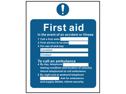 First aid action safety sign.
