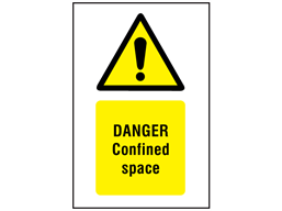 Danger confined space symbol and text safety sign.