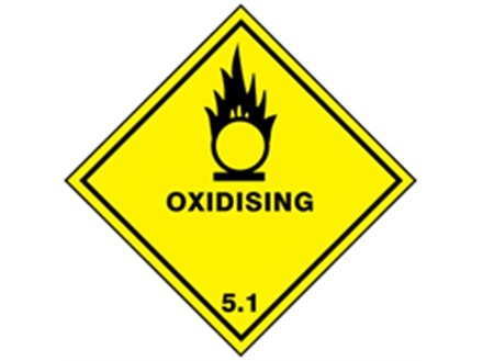 Oxidising, class 5.1, hazard diamond label
